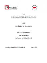 Batı Karadeniz Kalkınma Ajansı 2011 KOBİ MDP Başvuru Rehberi